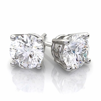2.08 Carat tw. Round Brilliant Diamond Prong Style Stud Earrings 14k white Gold F-SI2