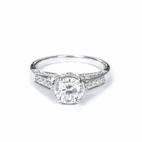 14kt Halo Pave Diamond Engagement Ring 2.15 Total Weight G SI1