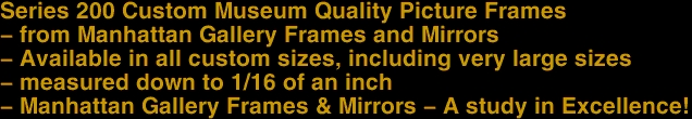 Series 200 Custom Museum Quality Picture Frames  - from Manhattan Gallery Frames and Mirrors  - Available in <u>all</u> custom sizes, including very large sizes  - measured down to 1/16 of an inch  - Manhattan Gallery Frames & Mirrors - A study in Excellence!