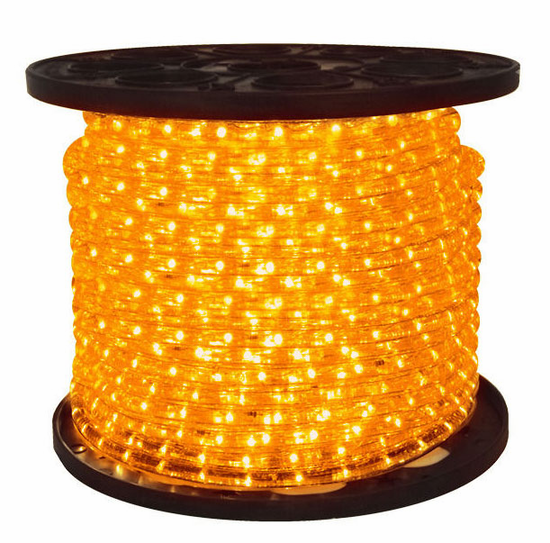 "LED 2-Wire 1/2"" 120v Directional Amber Rope Light - 150'"