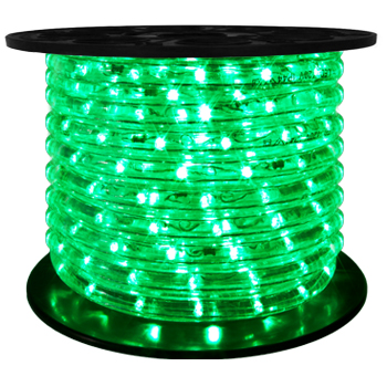 "LED 2-Wire 1/2"" 120v Directional Green Rope Light - 150'"