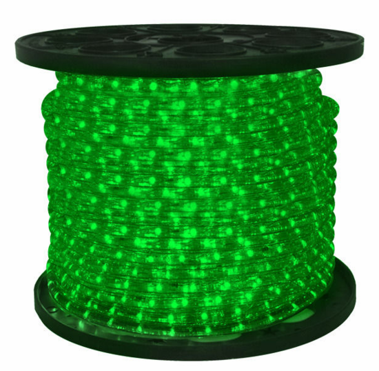 "LED 2-Wire 3/8"" 120v Omnidirectional Green Rope Light - 150'"