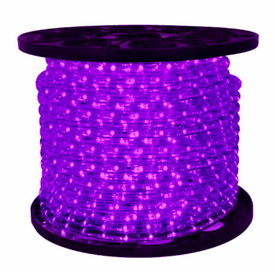 "LED 2-Wire 3/8"" 120v Omnidirectional Purple Rope Light - 150'"