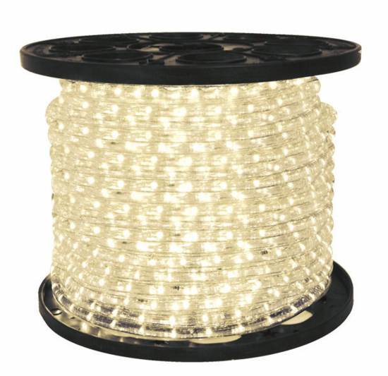 "LED 2-Wire 3/8"" 120v Omnidirectional Warm White Rope Light - 150'"