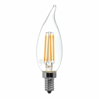 Tamarac 4W LED Filament Vintage CA11 Flame Tip Candelabra Lamp - Clear (24-pack)