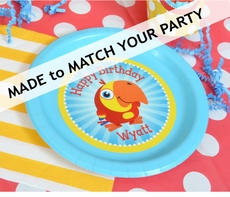 "12 MADE-TO-MATCH<br>Personalized Party Plates 7"" Cake & Snack Size"