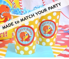 12 MADE-TO-MATCH<br>Polka Dot Personalized Party Cups Qty.12