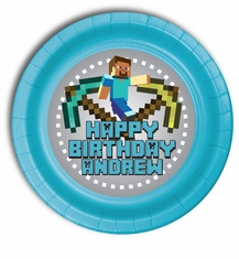 "12 MineCraft Personalized Party Plates 7"" Meal Size"