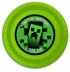 "12 MineCraft Personalized Party Plates 9"" Meal Size"