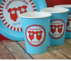 12 Twin 1 Twin 2 Dr. Seuss Onesies Personalized Twin Baby Shower Cups