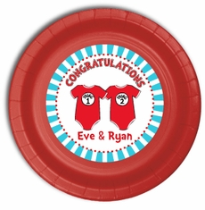"""12 Twin 1 Twin 2 Dr. Seuss Onesies Personalized Twin Baby Shower Plates 9"""" Meal Size"""