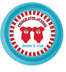 """24 Twin 1 Twin 2 Dr. Seuss Onesies Personalized Twins Baby Shower Plates 7"""" Cake & Snack Size"""