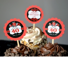 40th Birthday...choose your colors<br>Personalized Cupcake Toppers / Picks