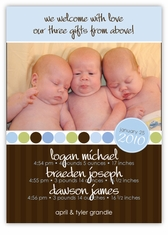Absolutely Precious Triplets Photo Birth Announcement
