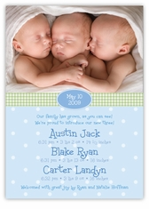 Adorable Dots BBB Photo Triplet Birth Announcement