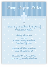 Adorable Dots Boy Triplets Baptism Invitation