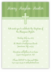 Adorable Dots Girl Boy Triplets Baptism Invitation
