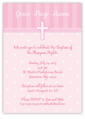 Adorable Dots Girl Triplets Baptism Invitation