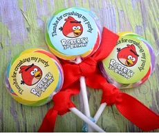 Angry Birds Personalized Lollipop Favors