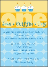 Any Age Cupcakes Boy Triplets Birthday Invitation