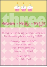 Any Age Cupcakes Girl Triplets Birthday Invitation