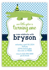 Personalized kids birthday cards party invitations amys card baby alligator crocodile birthday party invitation filmwisefo Gallery