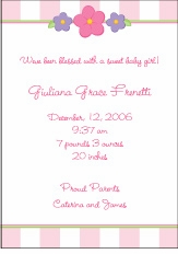 Baby Blocks Flowers Girl Birth Announcement