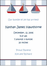 Baby Blocks Sailboats Boy Birth Announcement