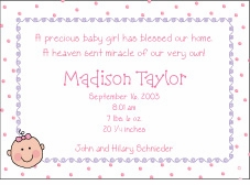 Baby Face Girl Birth Announcement