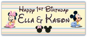 Baby Mickey & Minnie Mouse Twins First Birthday  Large Vinyl Banner