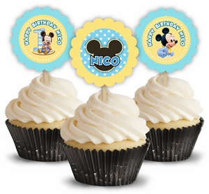 Baby Mickey Mouse First Birthday Cupcake Picks/Toppers