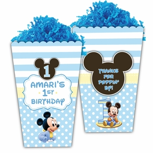 Baby Mickey Mouse First Birthday Large Popcorn Box