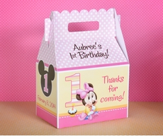 Baby Minnie Mouse 1st Birthday<br>Personalized Gable Box Party Favor