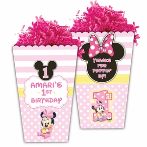 Baby Minnie Mouse First Birthday Large Popcorn Box