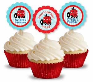 Tec the Tractor Party Personalized Cupcake Toppers