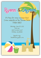 Personalized kids birthday cards party invitations amys card beach party birthday invitation stopboris Image collections