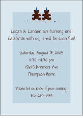 Mickey minnie twin first birthday party invitations amys card bears with hats twin boys birthday invitation filmwisefo Image collections