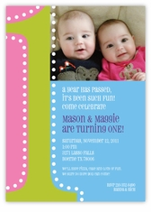 Big ONE Photo Girl Boy Twin First Birthday Invitation
