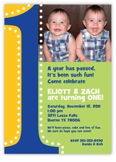 Mickey Minnie Twin First Birthday Party Invitations Amys Card - Birthday invitation cards twins
