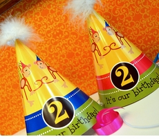 Monkeys Girl-Boy<br>Personalized Party Hats for Twins
