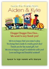 Birthday Train Twin Boys Pre-Printed Thank You Note Card