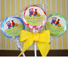 Birthday Train Twins<br>Personalized Lollipop Favors