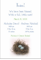 Blessed Nest Boy Boy Birth Announcement