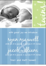 Block Stripe Script Twin Boys Announcement