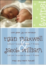 Block Stripe Twin Boys Announcement