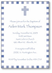 Blocks with Cross Boy Baptism Invitation