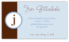 Blue Monogram Stamp Calling Card