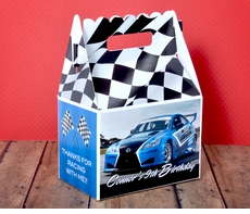 Blue Race Car Checkered Flag Racing Party Gable Box Favor
