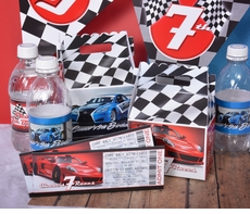 Blue Race Car Checkered Flag Racing Personalized Water Bottle Labels<br>Self Adhesive