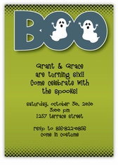 BOO on Green Halloween Party Invitation